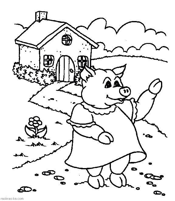 Раскраска  Домик в деревне. Свинья. Скачать Свинья.  Распечатать Домашние животные