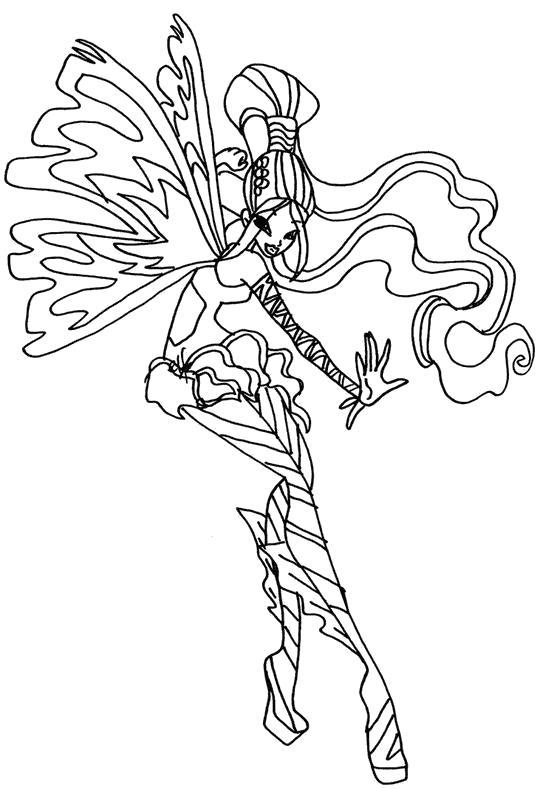 Раскраска Прекрасная фея. Скачать Винкс.  Распечатать Винкс