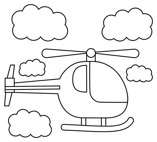 Раскраска  Вертолет среди облаков. Скачать вертолет.  Распечатать вертолет