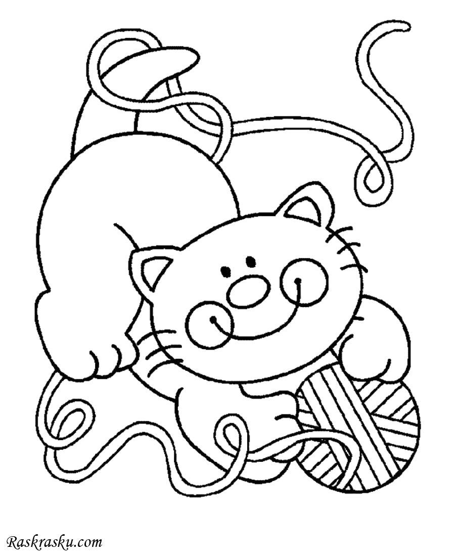 Раскраска Котенок играет с нитками. Скачать кот.  Распечатать кот