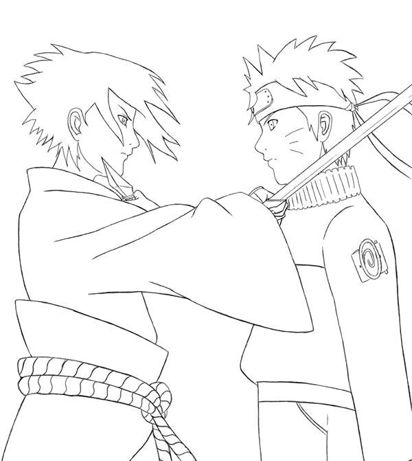 Раскраска Саске против Наруто. Скачать наруто.  Распечатать наруто