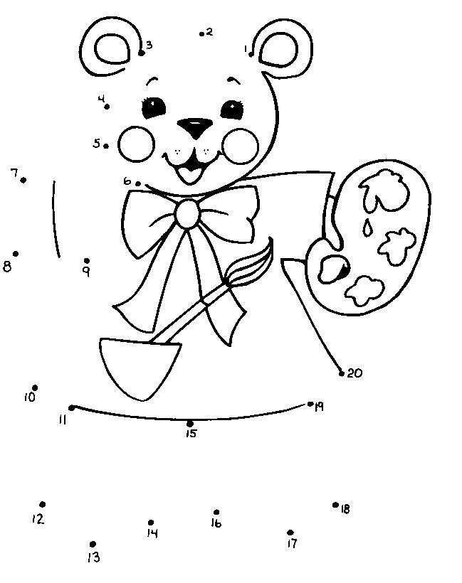 Раскраска Нарисуем мишку по точкам. Скачать по точкам.  Распечатать по точкам