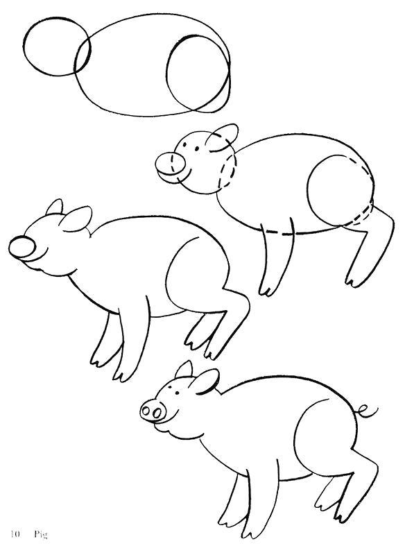 Раскраска Зверушек. Скачать как нарисовать.  Распечатать Учимся рисовать