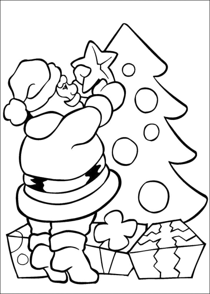 Раскраска санта клаус украшает елку, . Скачать новогодние.  Распечатать новогодние