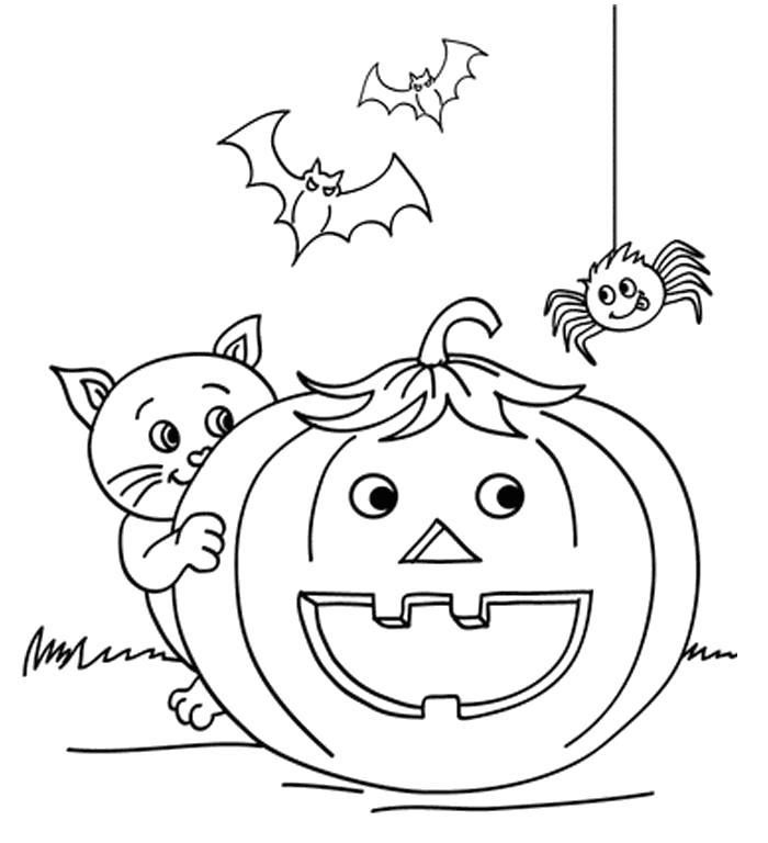 Раскраска Кошка и тыква на Хэллоуин. Скачать кот, Котенок.  Распечатать Домашние животные