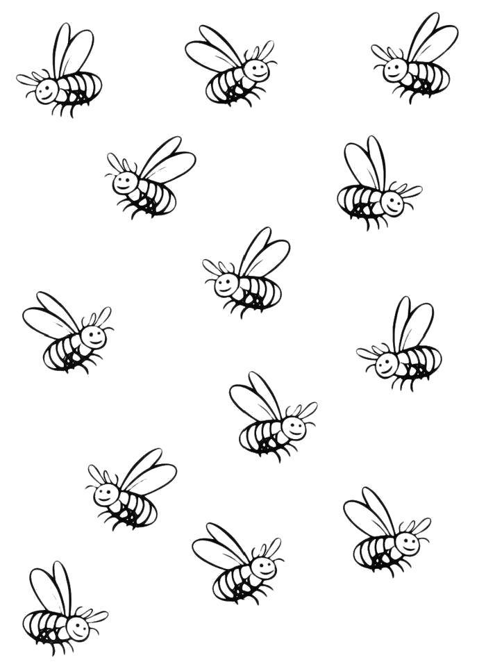 Раскраска  Много пчел. Скачать Пчела.  Распечатать Пчела