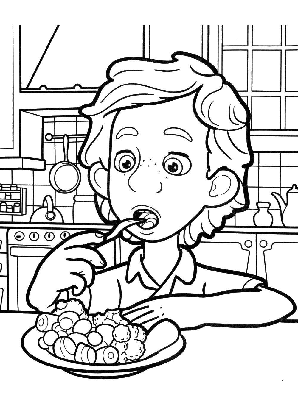 Раскраска Димдимыч ест овощи. Скачать .  Распечатать