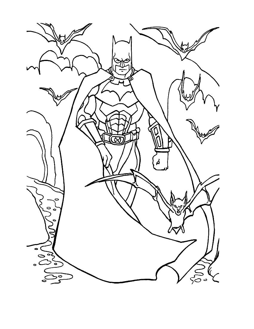 Раскраска Бэтмен и летучие мыши. Скачать Бэтмен.  Распечатать Бэтмен