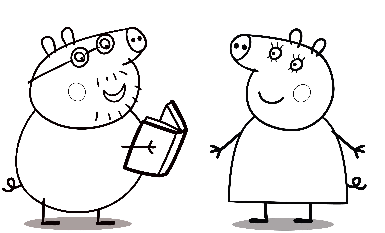 Раскраска Папа свинки Пеппы читает книгу маме. Скачать Пеппа.  Распечатать Пеппа
