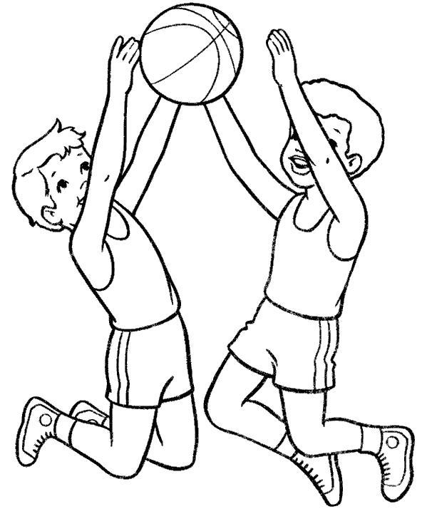 Раскраска мальчики прыгают за мячом. Скачать Баскетбол.  Распечатать Баскетбол