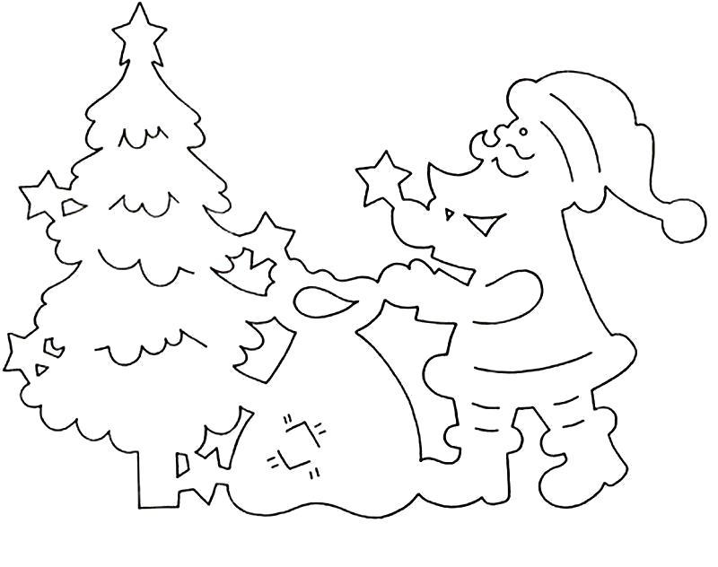 Раскраска  игрушками узор трафарет дед мороз, елка, мешок с игрушками. Контур для вырезания.. Скачать дед мороз.  Распечатать Дед мороз