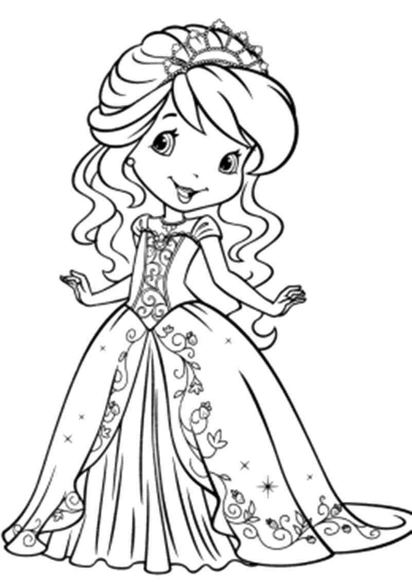 Раскраска малышка в нарядном платье. Скачать платье.  Распечатать платье