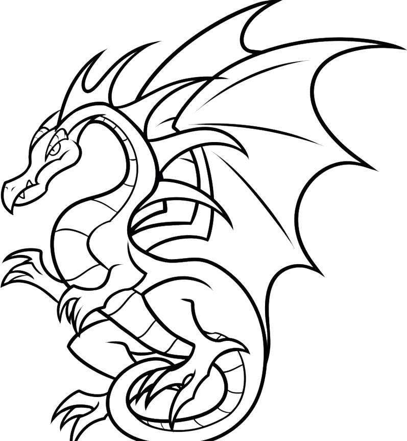 Раскраска злой дракон летает. Скачать дракон.  Распечатать мифические существа