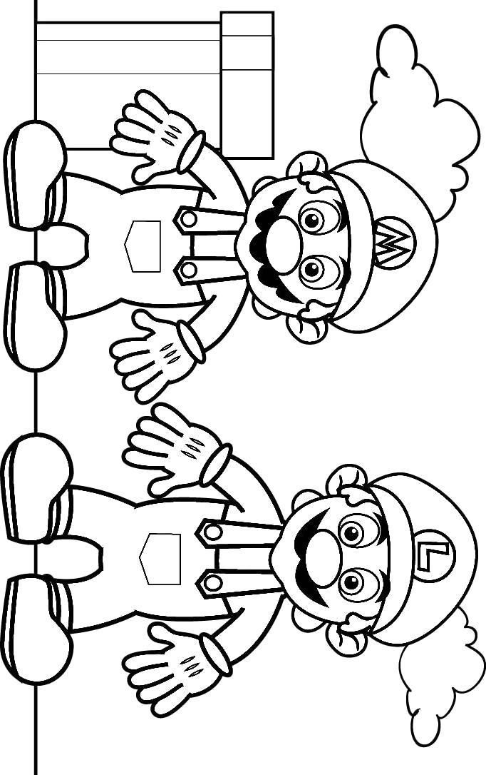 Раскраска Марио и Луиджи. Скачать Марио.  Распечатать Марио