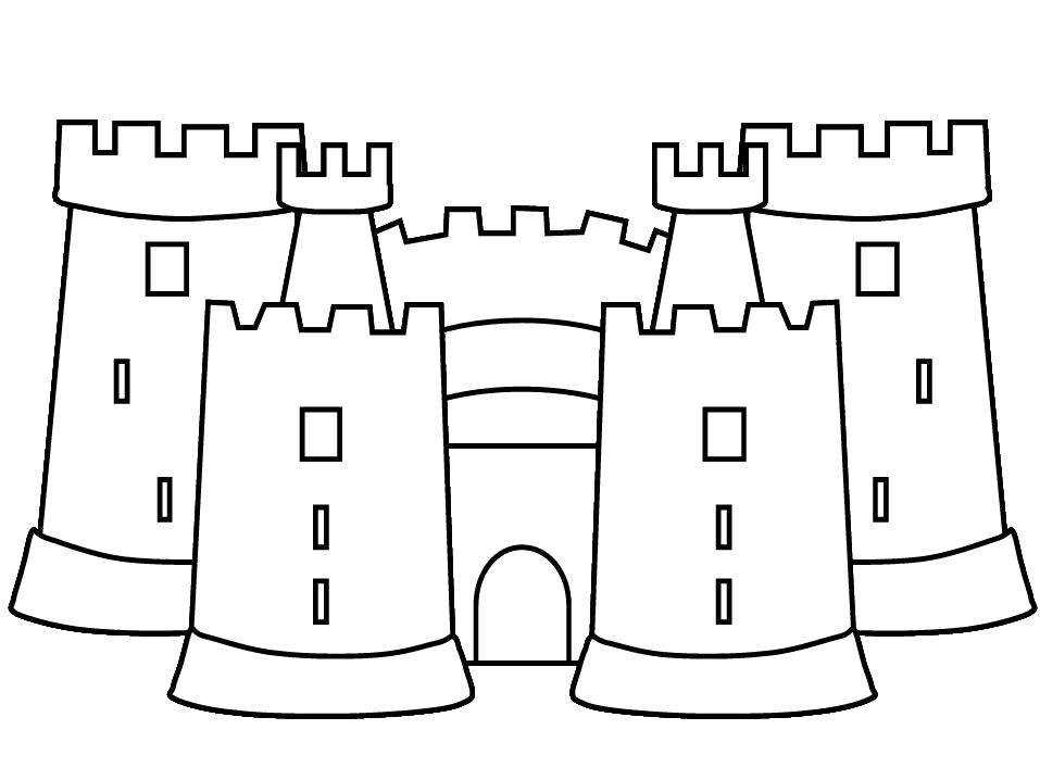 Раскраска  Песочный замок. Скачать Замок.  Распечатать Замок