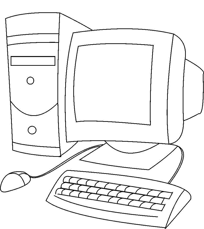 Раскраска системный  блок. Скачать Компьютер.  Распечатать Компьютер