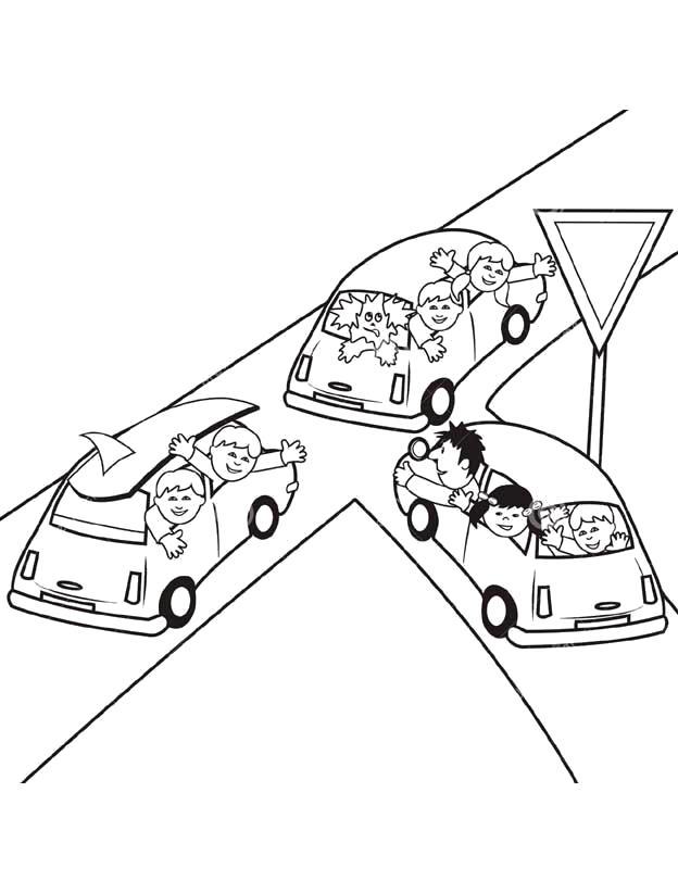 Раскраска Второстепенная дорога. Скачать Правила дорожного движения.  Распечатать Правила дорожного движения