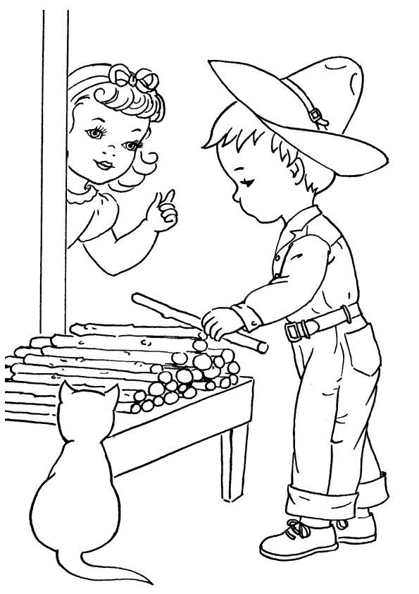 Раскраска мальчик собирает палки. Скачать Лето.  Распечатать Лето