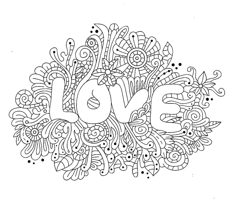Раскраска любовь. Скачать для взрослых.  Распечатать антистресс