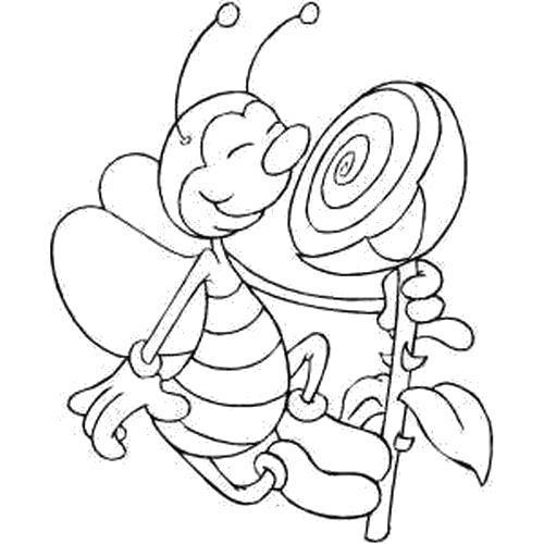 Раскраска  Пчела нюхает бутон. Скачать .  Распечатать