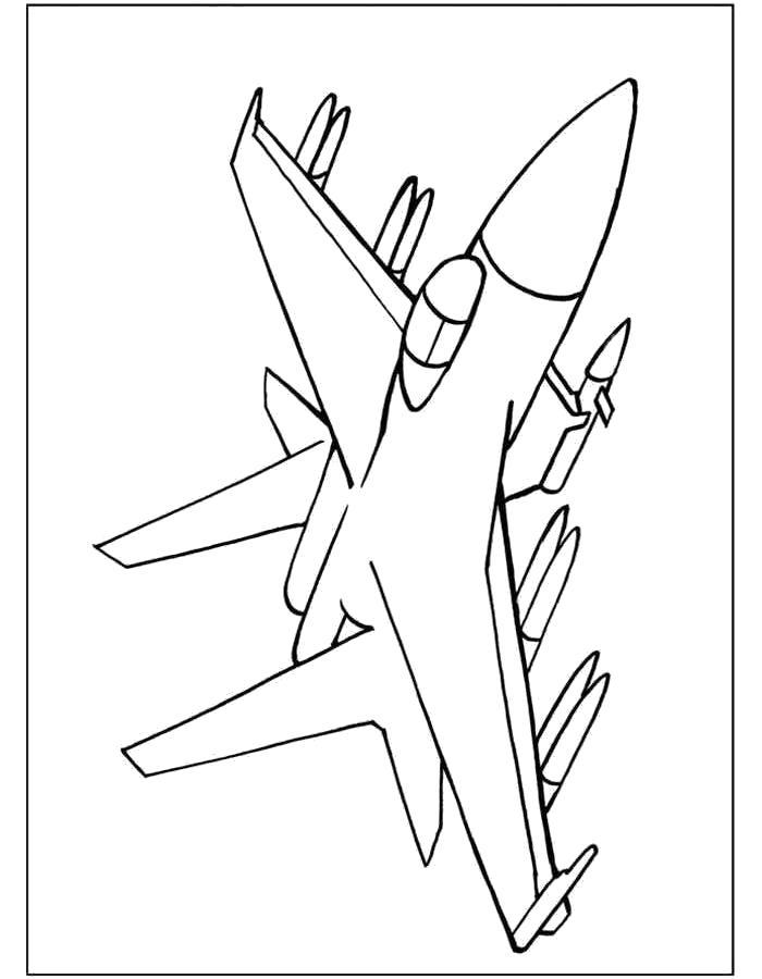 Раскраска Самолёт, Су 24, самолет вооружения. Скачать самолет.  Распечатать самолет