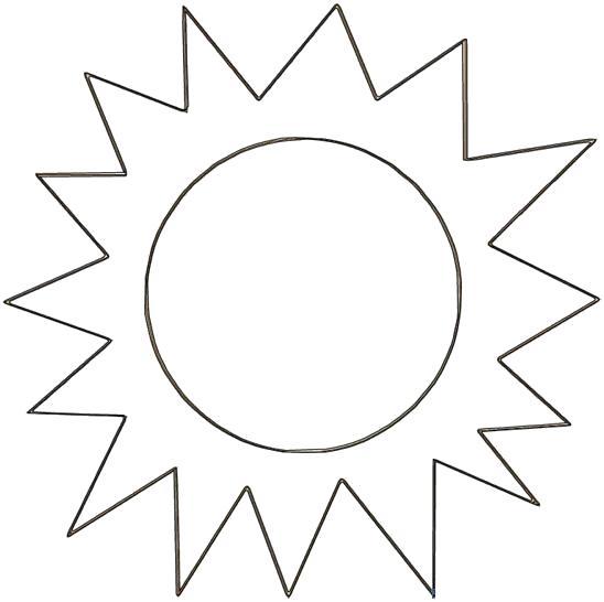 Раскраска трафарет солнца. Скачать Лето.  Распечатать Лето
