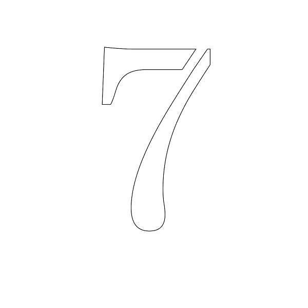 Раскраска  цифры цифра 7 контур, трафарет для вырезания из бумаги. Скачать Трафарет.  Распечатать Трафарет