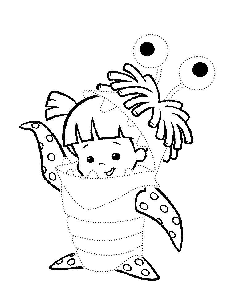 Раскраска  с Корпорацией монстров для девочек. Обведи по точкам и раскрась девочку Бу. Скачать обведи по точкам.  Распечатать дорисуй по точкам