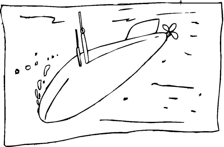 Раскраска Субмарина. Скачать Подводная лодка.  Распечатать Подводная лодка