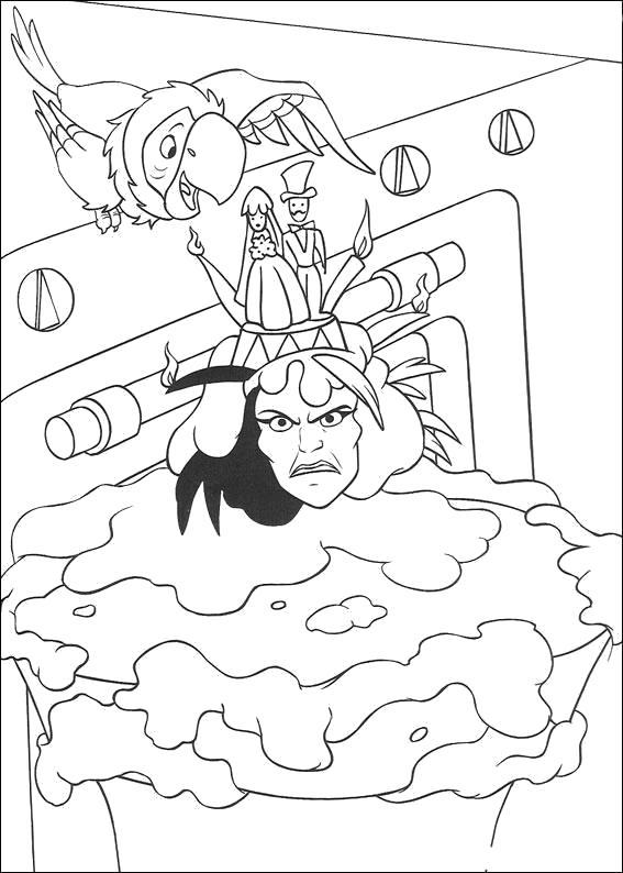 Раскраска  для детей - 101 далматинец, злая мачеха и попугай. Скачать 101 далматинец.  Распечатать 101 далматинец