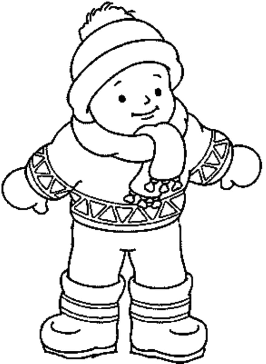 Раскраска  ребенок в зимней одежде. Скачать Зимняя одежда.  Распечатать Зимняя одежда