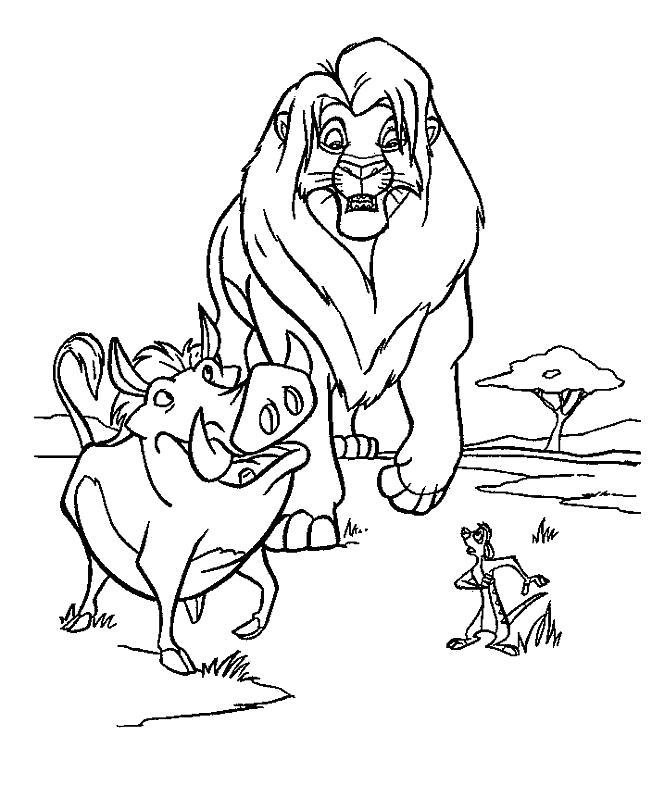 Раскраска Лев, Пумба и Тимон. Скачать Герои Диснея.  Распечатать Герои Диснея