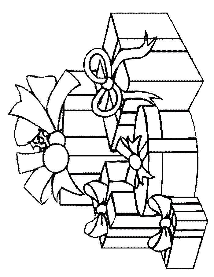 Раскраска подарки, много подарков. Скачать Подарки.  Распечатать Подарки