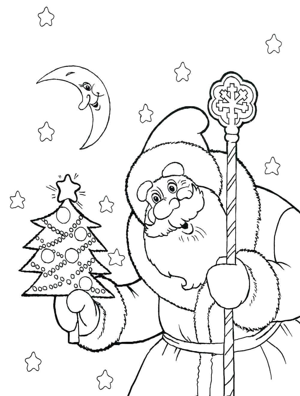 Раскраска дед мороз держит елку в руках. Скачать дед мороз и елка.  Распечатать Дед мороз