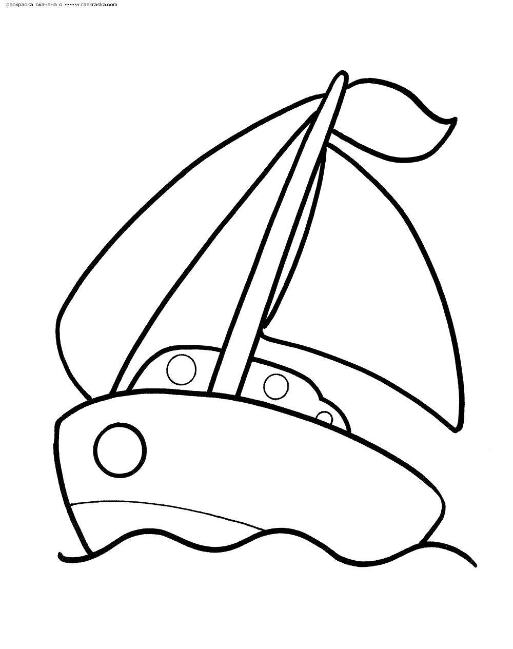 Раскраска  Кораблик.  Игрушечный кораблик  для детей . Скачать Кораблик.  Распечатать Кораблик