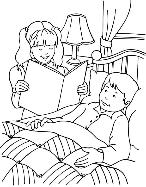 Раскраска , девочка читает книгу папе. Скачать .  Распечатать