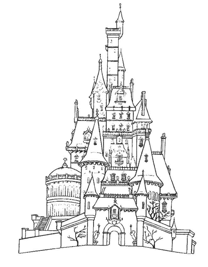 Раскраска волшебный замок, вход в замок. Скачать Замок.  Распечатать Замок