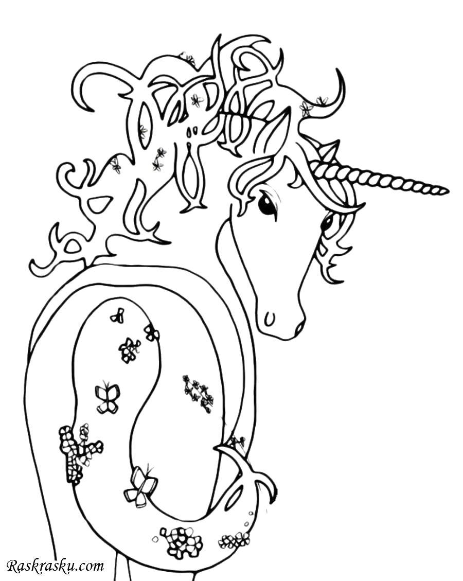 Раскраска Волшебный Единорог. Скачать Единорог.  Распечатать Единорог