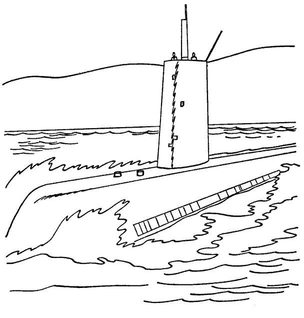 Раскраска Огромная лодка. Скачать Подводная лодка.  Распечатать Подводная лодка