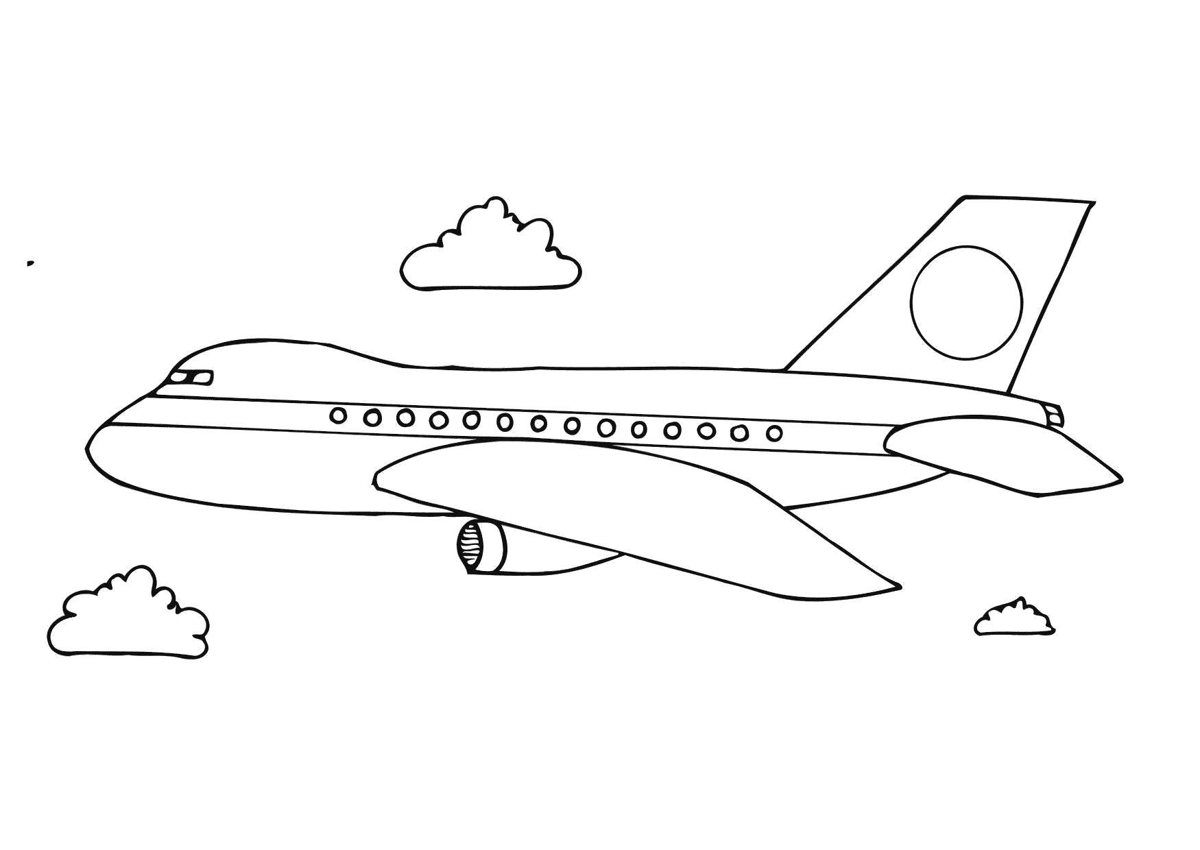 Раскраска Самолёт. Скачать Транспорт.  Распечатать Транспорт