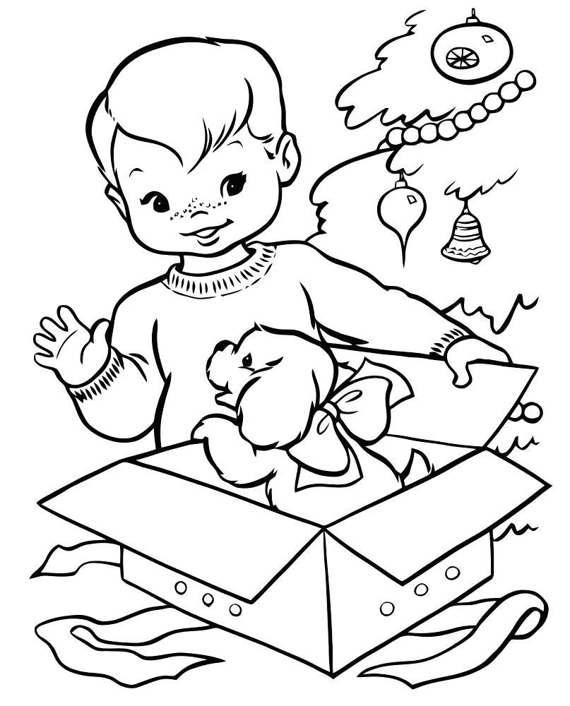 Раскраска мальчику подарили подарок, собачка в коробке, . Скачать подарок.  Распечатать подарок