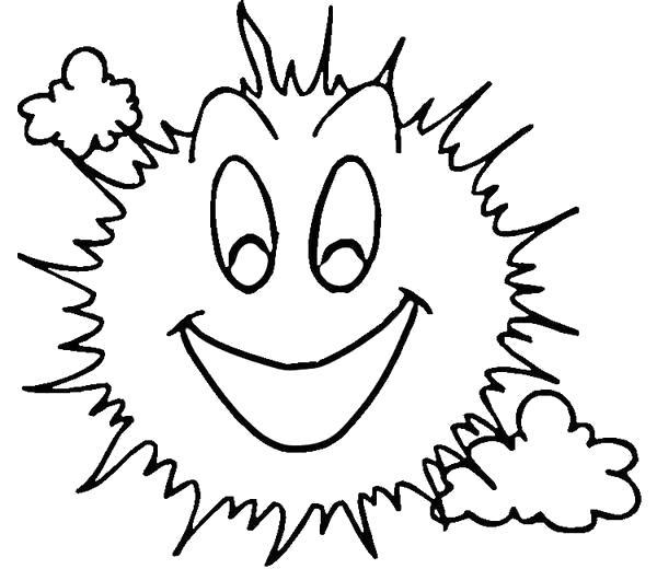 Раскраска Солнышко и тучки. Скачать .  Распечатать