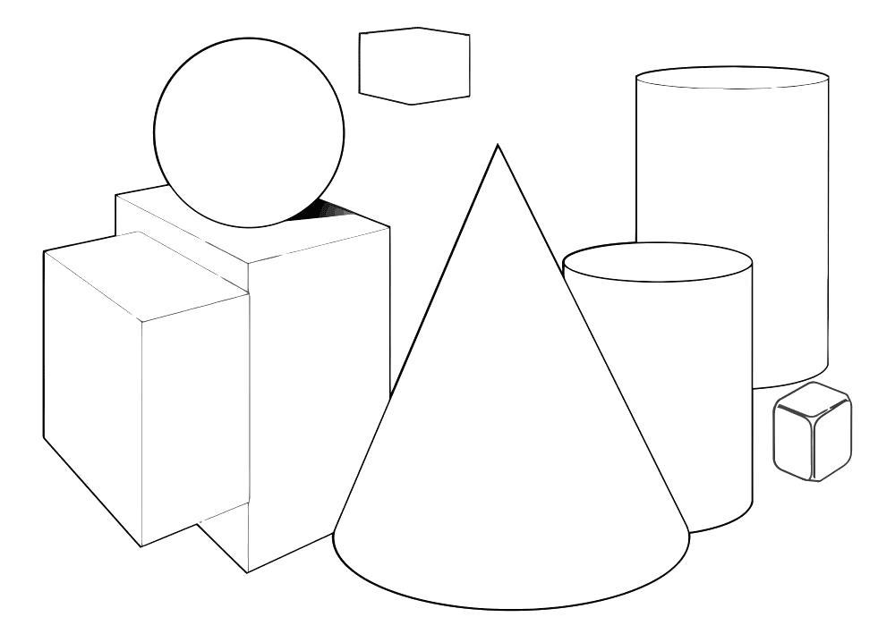 Раскраска объемные геометические фигуры. Скачать .  Распечатать геометрические фигуры