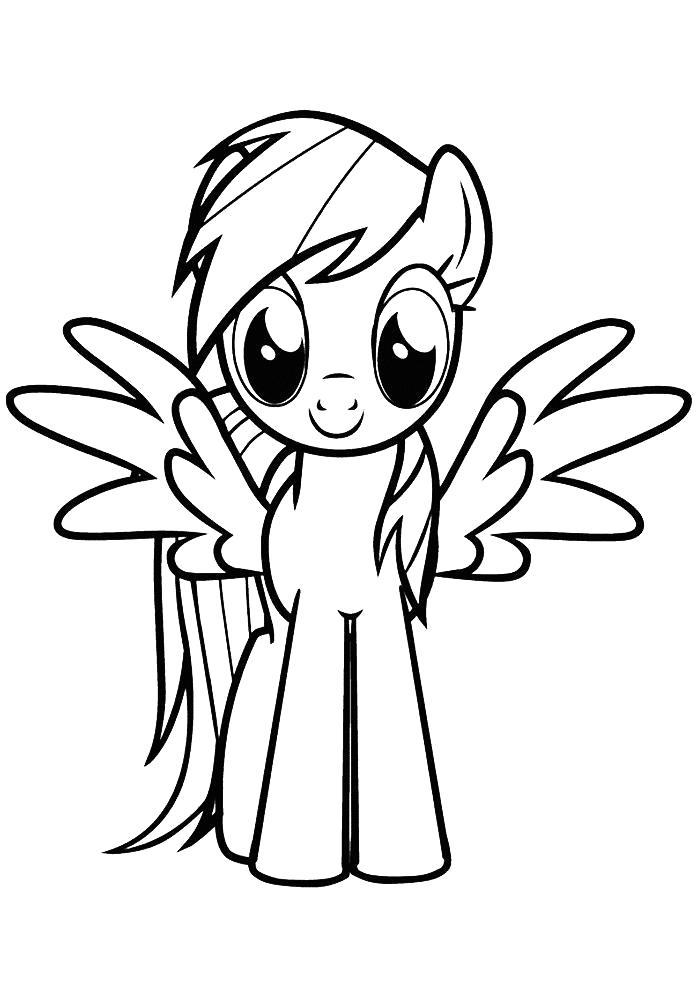 Раскраска Пони  для девочек Радуга. Скачать Пони.  Распечатать Пони