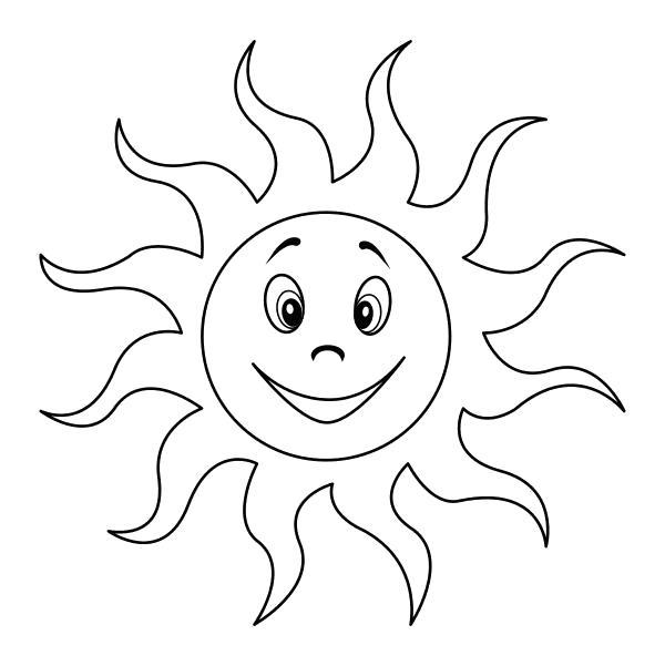 Раскраска  - Малышам - Улыбающееся солнце. Скачать Солнце.  Распечатать Солнце