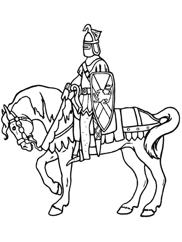 Раскраска Рыцарь на коне. Скачать Рыцарь.  Распечатать Рыцарь