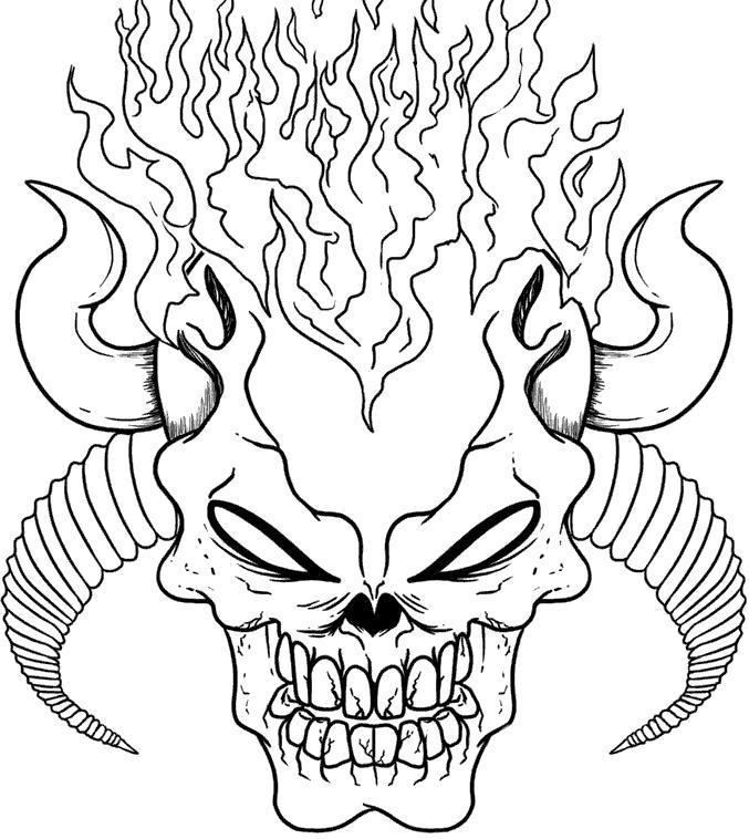 Раскраска Огненный череп. Скачать Череп.  Распечатать Череп