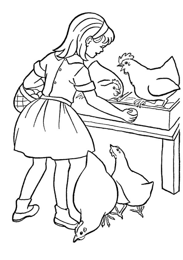 Раскраска  девочка кормит курочек. Скачать Лето.  Распечатать Лето