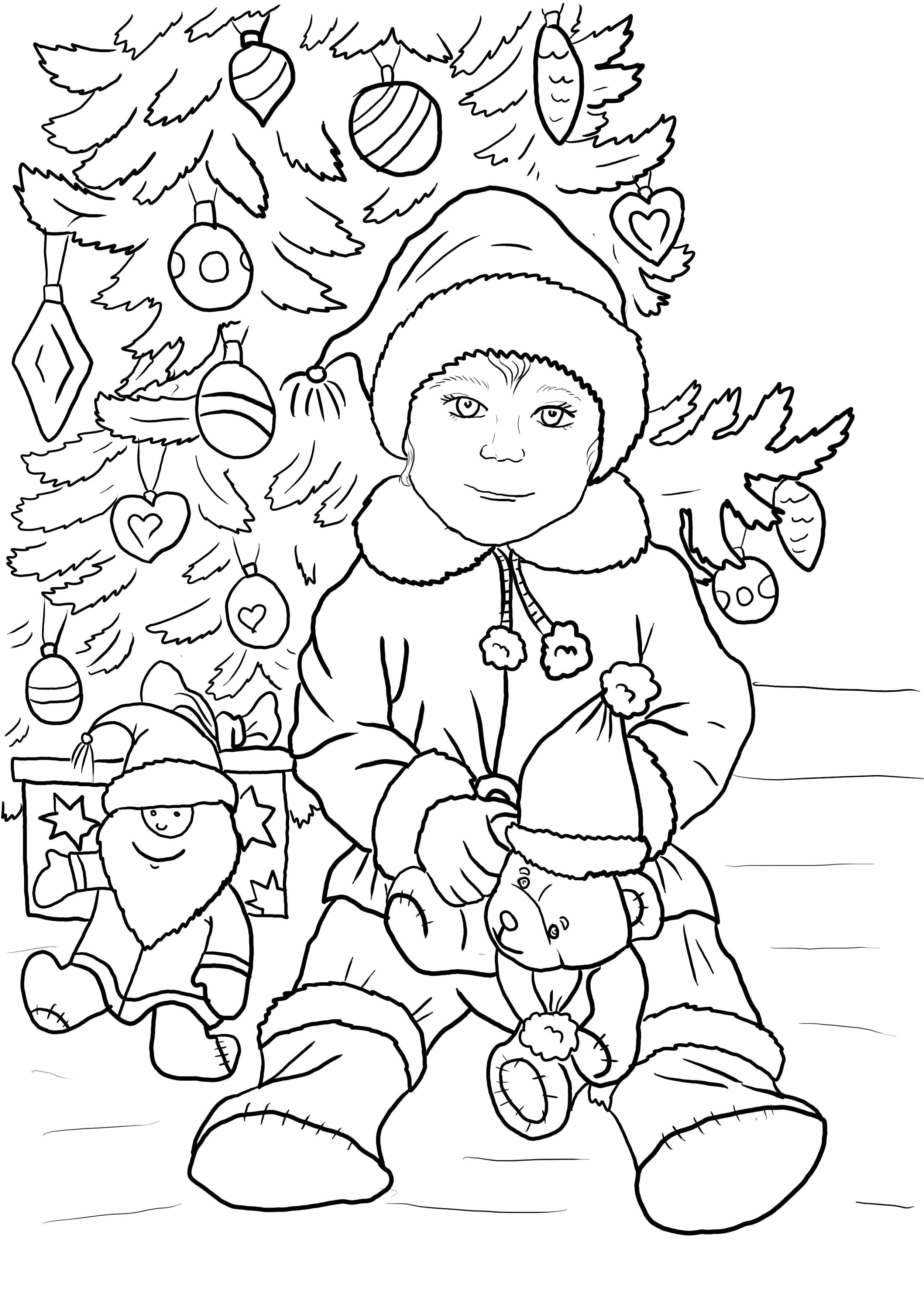 Раскраска мальчик сидит около елки. Скачать новогодние.  Распечатать новогодние