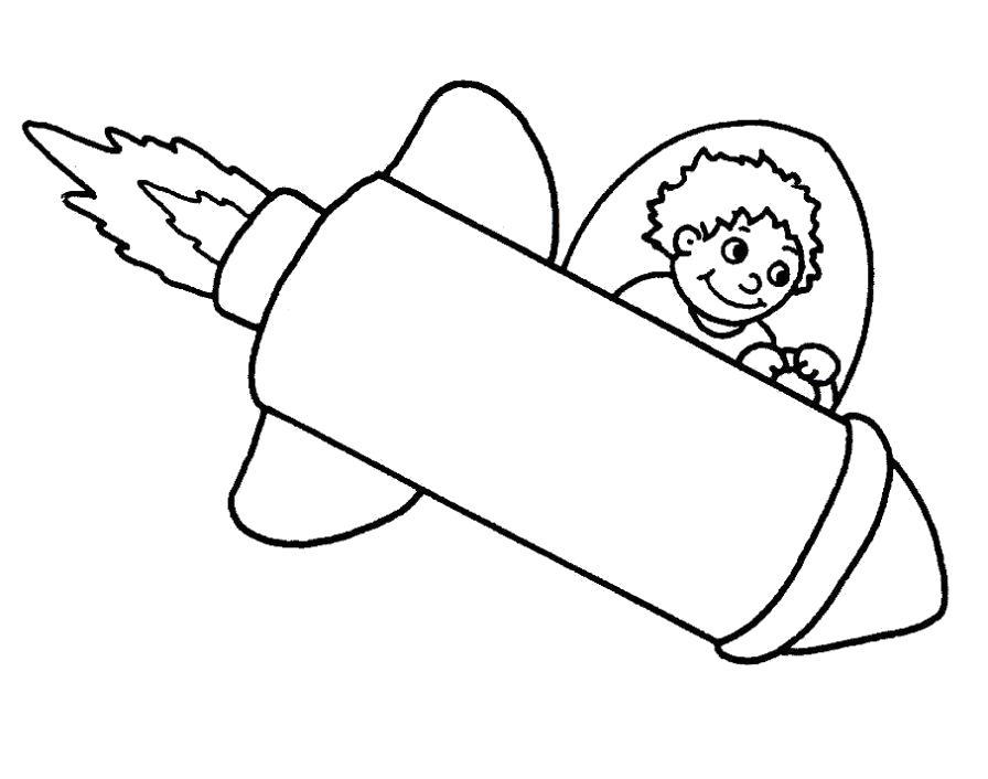 Раскраска Маленький космонавт. Скачать Ракета.  Распечатать Ракета